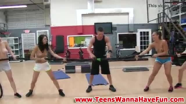 Real teens in gym undress and show tits